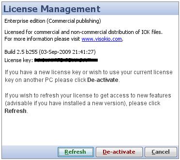 license management dialog